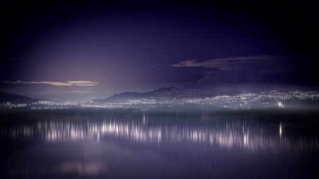 time lapse night scape over water video