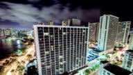 Time Lapse - Nightime View of Downtown Honolulu, Hawaii with Clouds video
