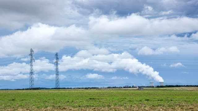 Time lapse of a nuclear power plant in French countryside video
