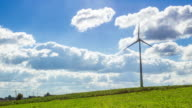 Time lapse of a wind power plant with variable speed in the countryside video