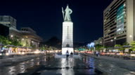 Time lapse of Admiral Yi Sun-Shin statue at Gwanghwamun during night time. video