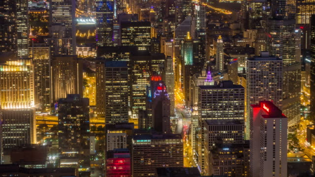 Time lapse of aerial view of Chicago downtown from high above video
