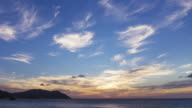 Time lapse of amazing sunset and cloud over ocean video