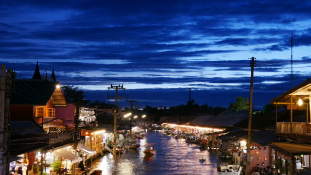 Time lapse of Amphawa Floating Market, Thailand video