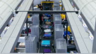 Time Lapse of Baggage moving in conveyer belt, airport counter video