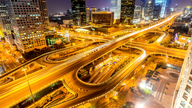 time lapse of beijing Central Business District skyline in night video