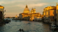 Time Lapse of Boat moving during dusk at Grand Canal, Venice video