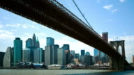 Time lapse of Brooklyn bridge and skyline video