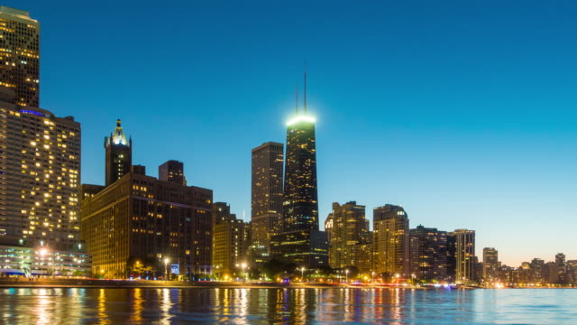 Time lapse of Chicago skyline at twilight video