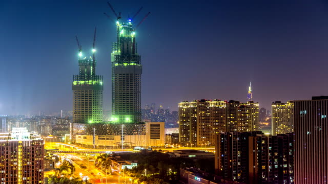 Time lapse of cityscape at night of nanjing Hexi new town,china video