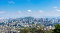 Time lapse of Cityscape in Seoul with Seoul tower and blue sky, South Korea. video