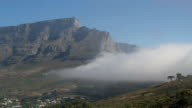 Time lapse of clouds moving through the valley between Table Mountain and Lion's Head in Cape Town, South Africa, cable car visible video