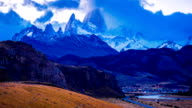 Time lapse of clouds  over Fitz Roy and El Chalten video