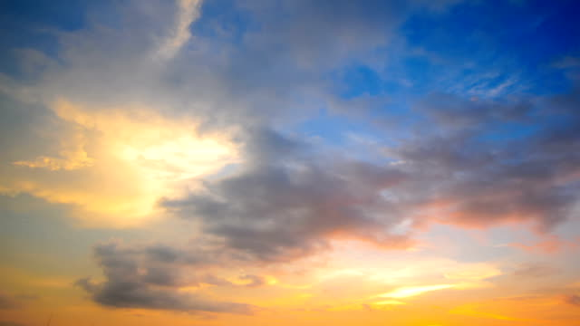 Time lapse of cloudscape with bright sun shining with clouds passing. video