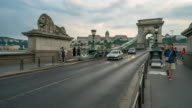 Time Lapse of Crowd and Vehicle at Chain Bridge, Budapest video