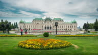 Time Lapse of Crowd waking at Belvedere Palace, Vienna, Austria video