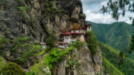 Time Lapse of crowd waking at Tiger Nest Temple, Bhutan video