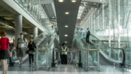 Time Lapse of Crowd walking on escalator at Airport terminal video