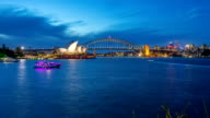 time lapse of day to night blue hour at Sydney Opera House, view from Royal Botanic Gardens. video