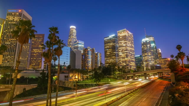 Time lapse of downtown Los Angeles cityscape in California video