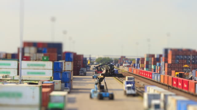 4K Time lapse of Freight train and Logistics operation in railroad container yard. video