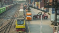 Time lapse of Freight train with cargo containers video