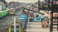 Time lapse of Freight train with cargo containers,4K video