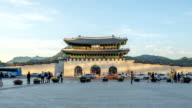 Time lapse of Gwanghwamun gate during sunset. video