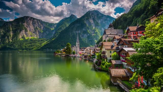 Time lapse of Hallstatt mountain village in austria video