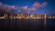 Time lapse of Honolulu skyline at twilight video