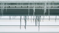Time lapse of icicles melting in winter video