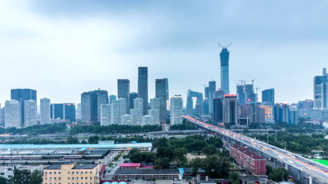 Time lapse of Jianwai SOHO,the CBD skyline from day to night in Beijing,China video