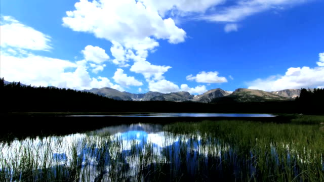 Time lapse of lake, mountains & clouds. video