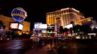 Time lapse of Las Vegas strip road at night video