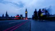 Time lapse of London city rush hour in Westminster Bridge, Big Ben and Houses of Parliament on the back, evening time video