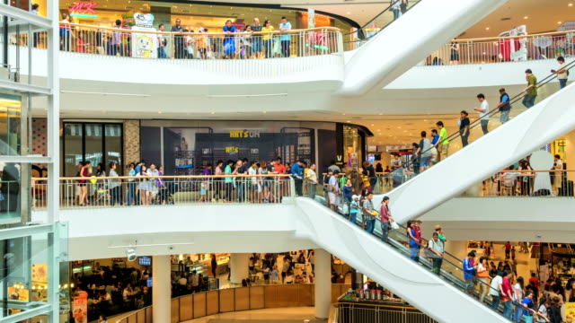 Time lapse of many poeple in shopping mall video