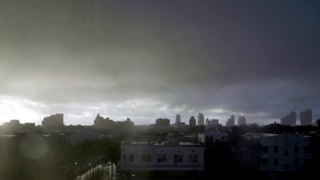 Time lapse  of midday tropical downpour over Miami Beach video