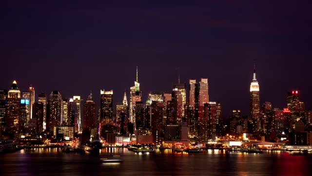 Time lapse of midtown NYC skyline day to night video