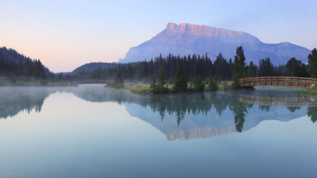 Time lapse of mist on Mountain lake,Banff National Park video