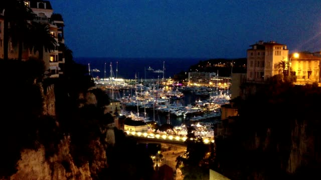 Time Lapse of Monaco at dusk video