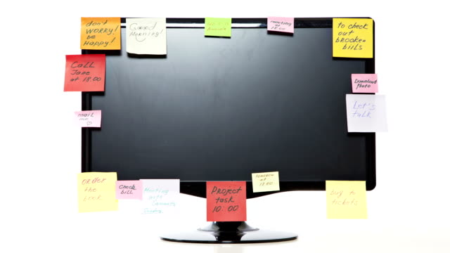 Time lapse of monitor with post-it notes video