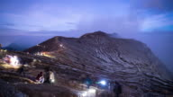 Time lapse of Mount Kawah Ijen volcano during sunrise in East Java, Indonesia. video
