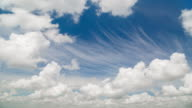 Time lapse of movement fluffy clouds in the bright blue sky video