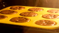 Time lapse of muffins rising in the oven video