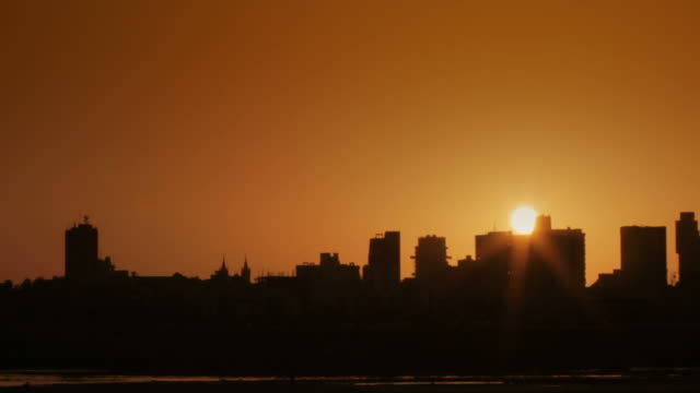 Time lapse of Mumbai skyline in sunset video