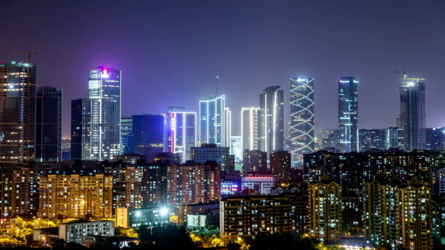 Time Lapse of NanJing HeXi new town at night video