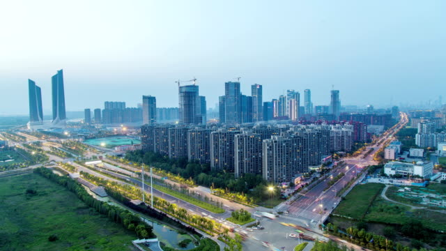 Time Lapse of NanJing HeXi new town from day to night,china video