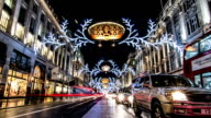 Time lapse of night time traffic and Christmas lights in Oxford Street, London video