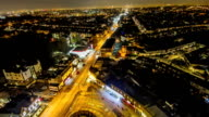 Time lapse of night time traffic in Collierswood, London. Aerial view, buildings and house visible video