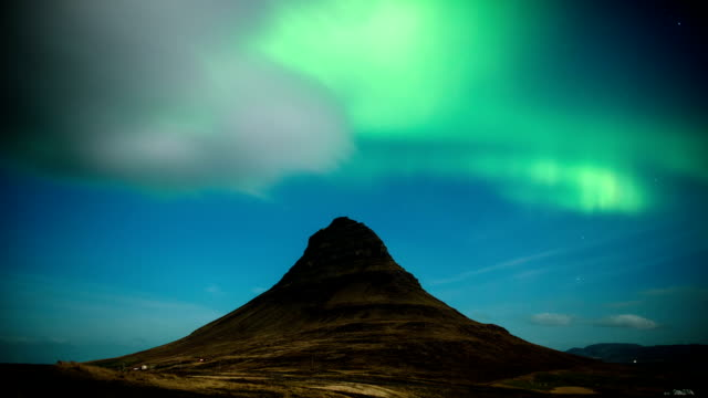 Time Lapse of Northern Lights over Kirkjufell Mountain in Iceland video